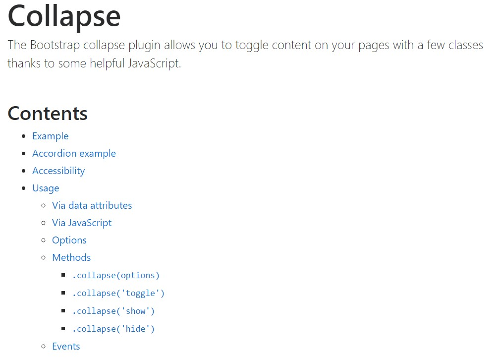 Bootstrap collapse  approved documentation