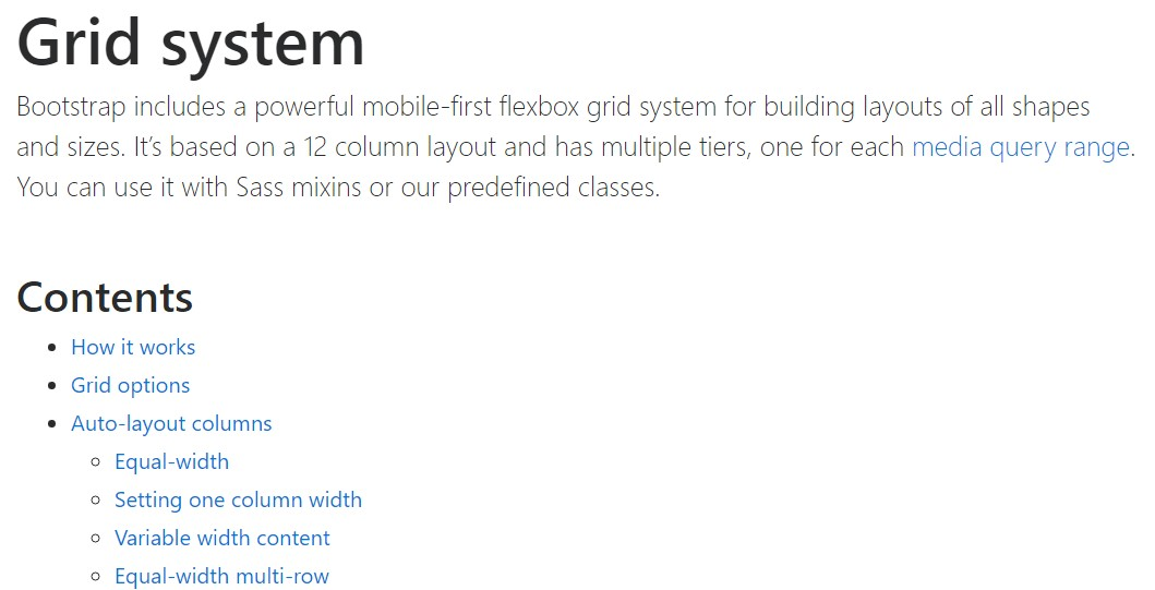 Bootstrap grid  approved documentation