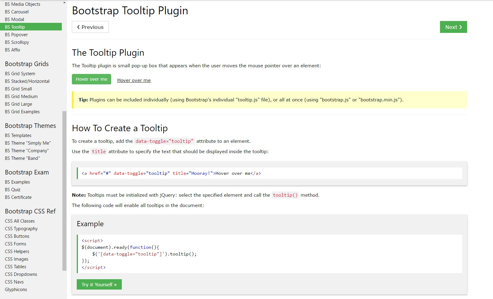 Bootstrap Tooltips  guide